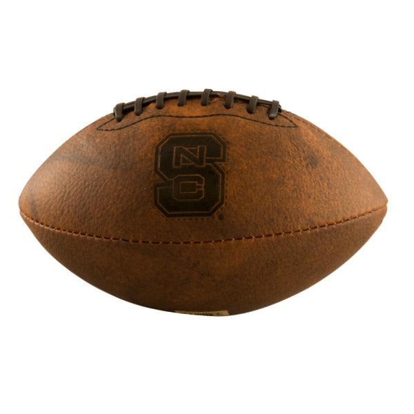 NC State Wolfpack Logo Brown Leather Mini Football