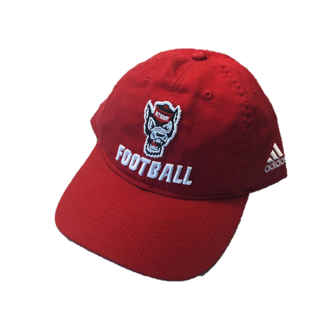 NC State Wolfpack Adidas Red Wolfhead Football Slouch Adjustable Hat
