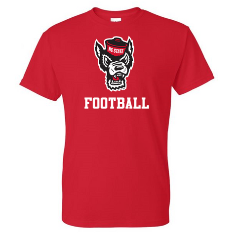 NC State Wolfpack Youth Red Wolfhead Football T-Shirt