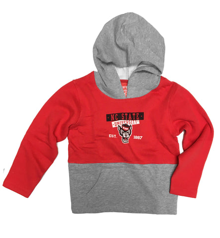 NC State Wolfpack Toddler Boy's Red Davey Wolfhead Hooded Sweatshirt