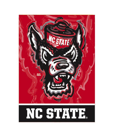 "NC State Wolfpack 29""x43"" Red Wolfhead Justin Patten House Flag"