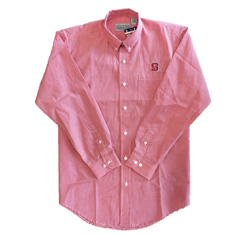 NC State Wolfpack Men's Red Gingham Block S Dress Shirt