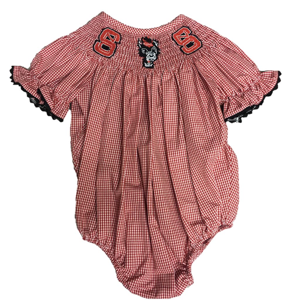 NC State Wolfpack Infant Girls Smocked Bubble