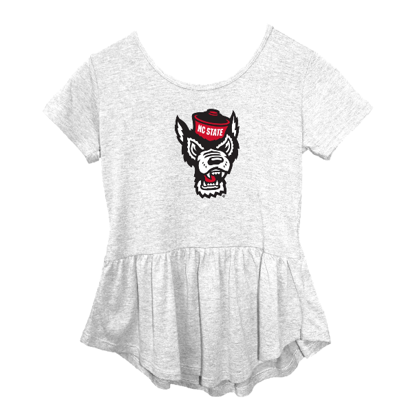 NC State Wolfpack Girl's Heathered Grey Peplum Wolfhead T-Shirt