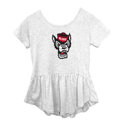 NC State Wolfpack Girl's Heather Grey Peplum Wolfhead T-Shirt