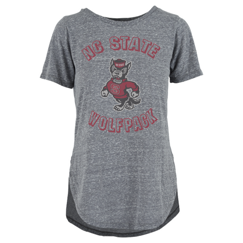 NC State Wolfpack Women's Heathered Grey Gladys Rounded Bottom Knobi T-Shirt