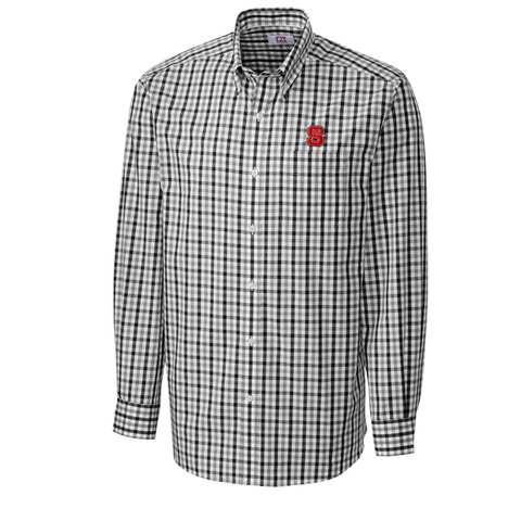 NC State Wolfpack Black Grant Plaid Dress Shirt