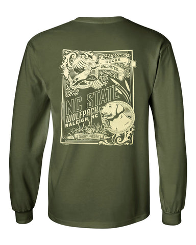 NC State Wolfpack Military Green Ducks Unlimited Engraved Long Sleeve T-Shirt