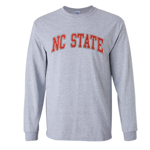 NC State Wolfpack Grey Arch Long Sleeve T-Shirt
