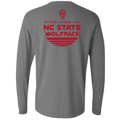 NC State Wolfpack Comfort Colors Grey Established L/S T-Shirt