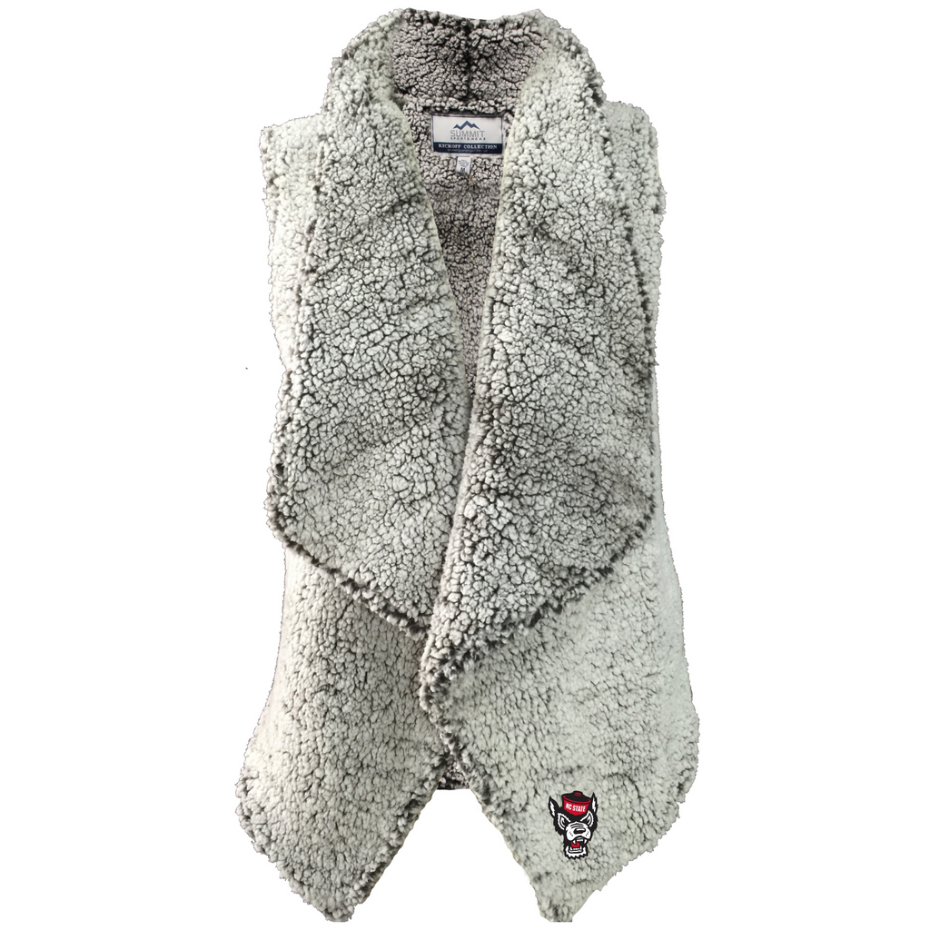NC State Wolfpack Women's Smoke Heather Sherpa Draped Vest