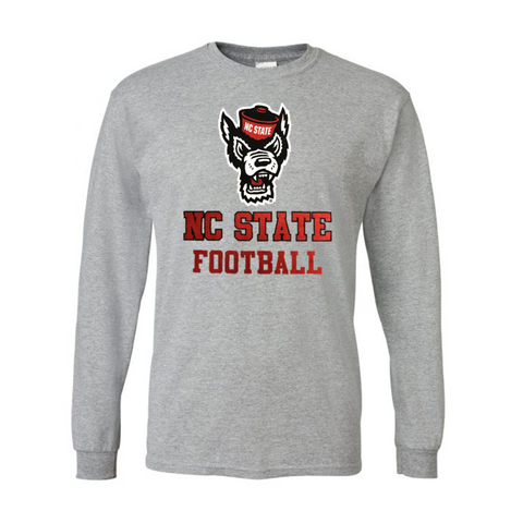 NC State Wolfpack Grey NC State Football Wolfhead Long Sleeve T-Shirt