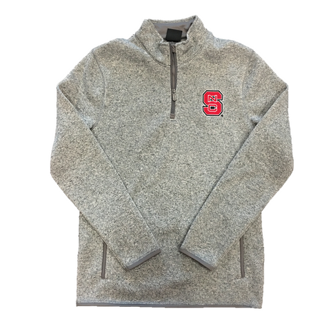 NC State Wolfpack Grey Sweater Knit 1/4 Zip Jacket