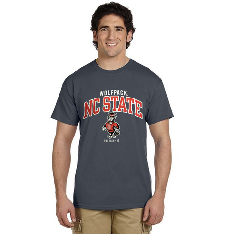 NC State Wolfpack Grey Strutting Wolf Under Wordmark T-Shirt
