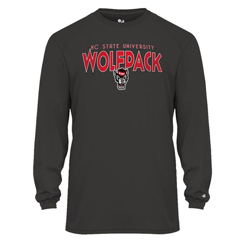 NC State Wolfpack Youth Grey Ultimate Performance Long Sleeve T-Shirt