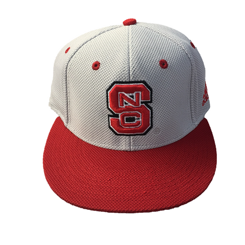 "NC State Wolfpack Grey Mesh Adidas® ""On-Field"" Baseball Performance Fitted Flatbill Hat"