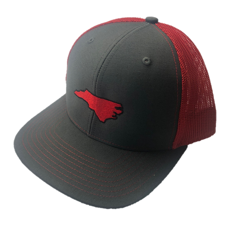 State Of North Carolina Red and Grey Mesh Adjustable Hat