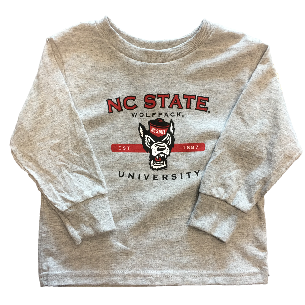 NC State Wolfpack Toddler Grey Wolf Head Long Sleeve T-Shirt