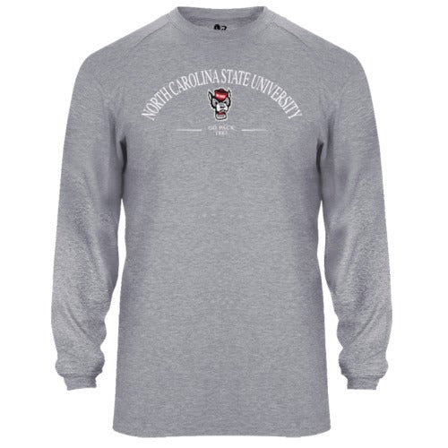 North Carolina State Wolfpack Heathered Grey Wolfhead B-Tech Performance Long Sleeve T-Shirt