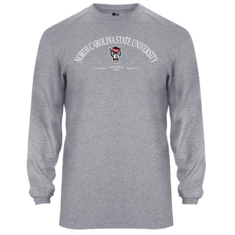 NC State Wolfpack Heathered Grey Wolfhead B-Tech Performance Long Sleeve T-Shirt