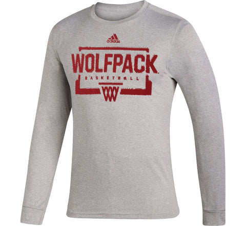 NC State Wolfpack Adidas Grey On Court Basketball Creator Long Sleeve T-Shirt