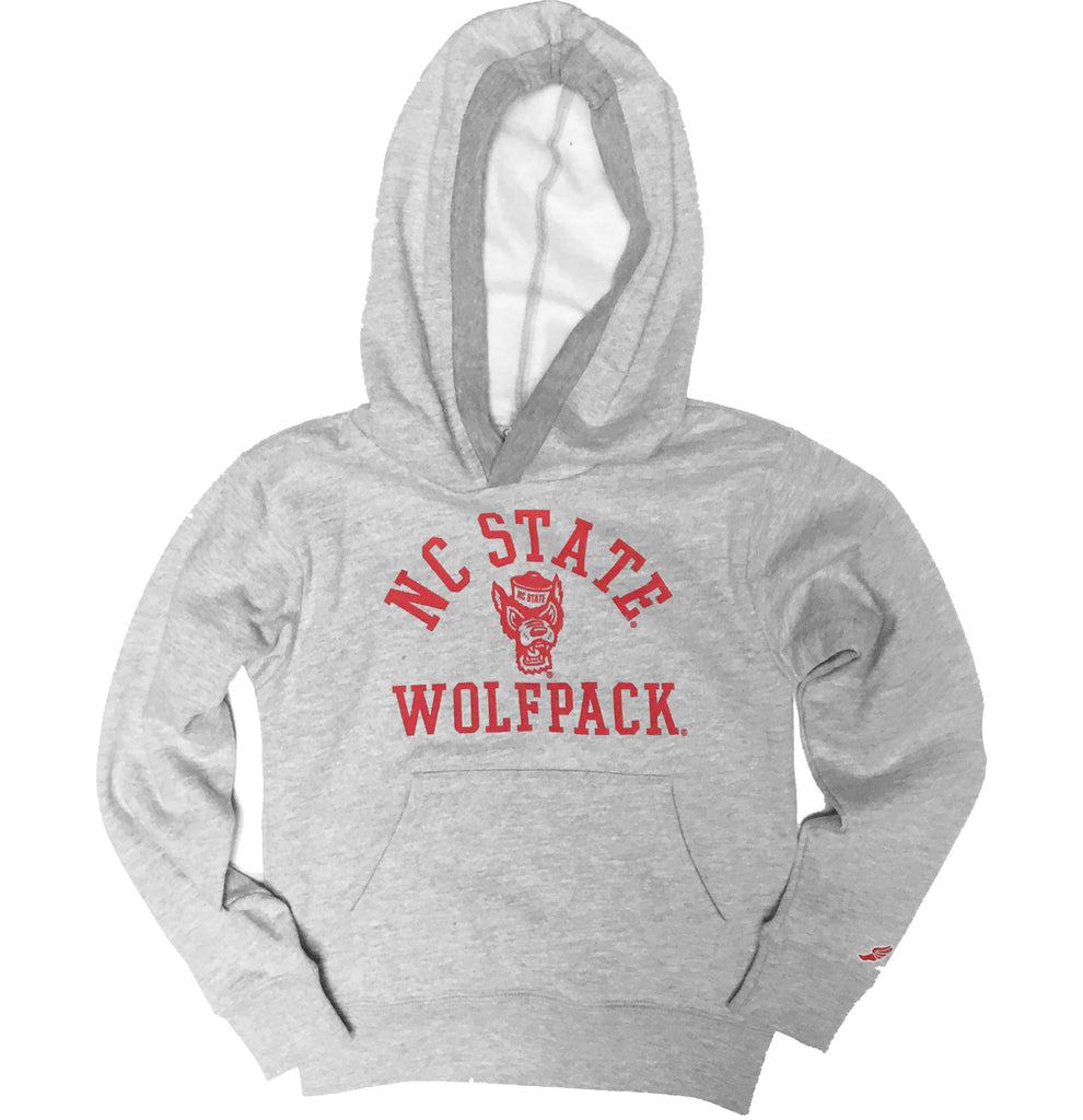 NC State Wolfpack Youth Light Grey Wolfhead Hooded Sweatshirt