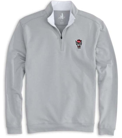 NC State Wolfpack Johnnie-O Grey Wolfhead Diaz 1/4 Zip Pullover