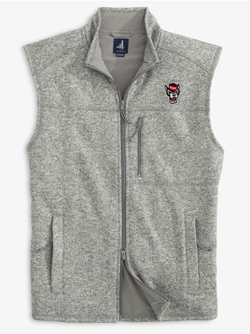 NC State Wolfpack Johnnie-O Heather Grey Wolfhead Wes Full Zip Vest