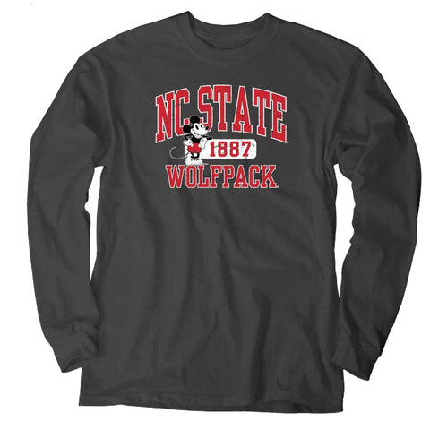 NC State Wolfpack Charcoal Disney Vintage Mickey Long Sleeve T-Shirt