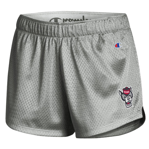 NC State Wolfpack Champion Women's Active Grey Wolfhead Mesh Shorts