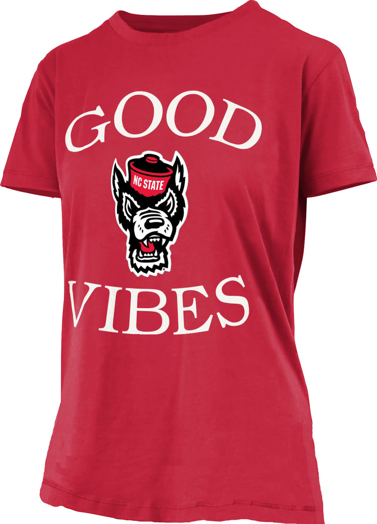 NC State Wolfpack Women's Red Good Vibes Comfort Colors T-Shirt