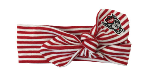 NC State Wolfpack Red and White Striped Wolfhead Hair Knot