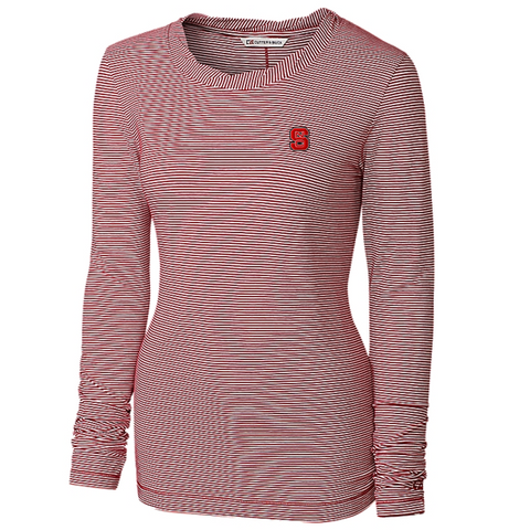 NC State Wolfpack C&B Women's Red/White Knit Harbor L/S Shirt