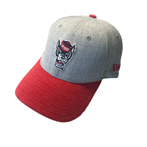 NC State Wolfpack New Era Heathered Grey Wolfhead with Red Bill Hat