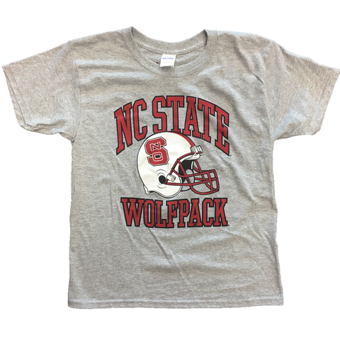 NC State Wolfpack Youth Grey Football Helmet T-Shirt
