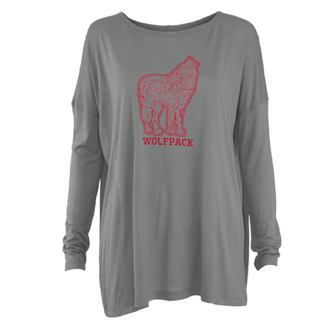 NC State Wolfpack Women's Grey Howling Wolf Henna Long Sleeve T-Shirt