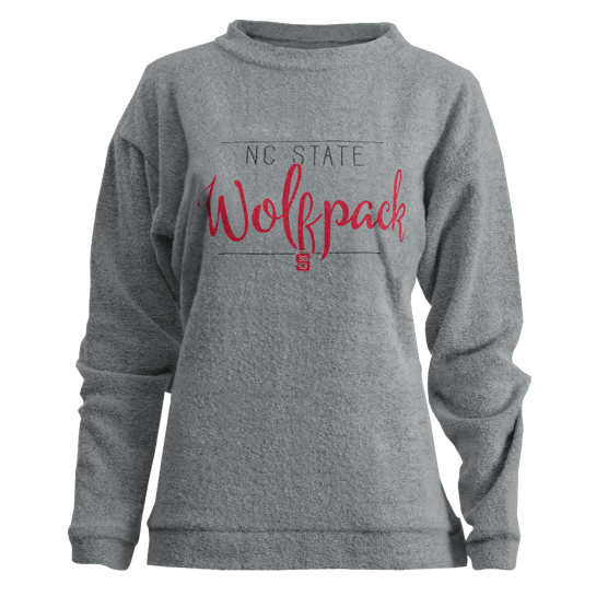NC State Wolfpack Women's Heathered Grey Hip Script Comfy Terry Crewneck Sweatshirt