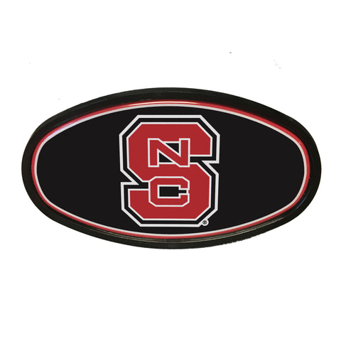 NC State Wolfpack Black Block S Oval Hitch Cover