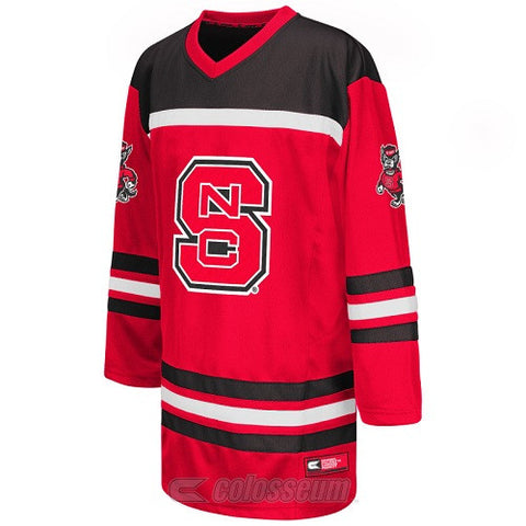 NC State Wolfpack Youth Red Cross Check Hockey Sweater