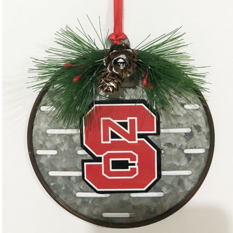 NC State Wolfpack Block S Metal Ornament with Holly
