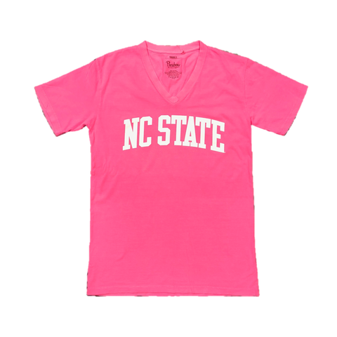 NC State Wolfpack Women's Neon Pink Campus V-Neck T-Shirt
