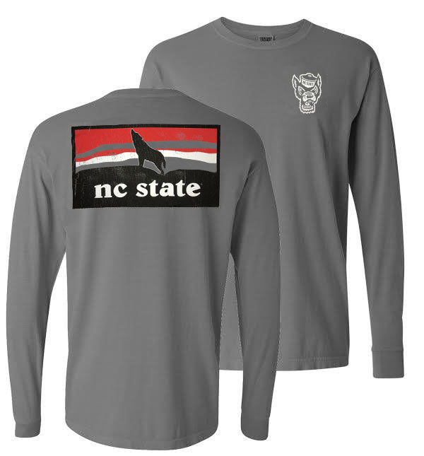 NC State Wolfpack Comfort Colors Grey Howling Wolf Long Sleeve T-Shirt
