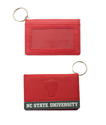 NC State Wolfpack Red Wolfhead Leatherette ID Holder