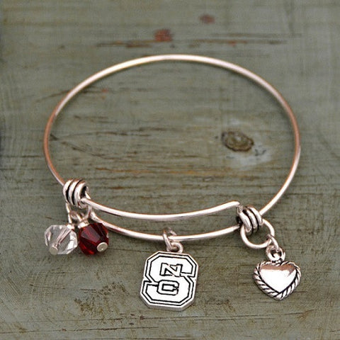 NC State Wolfpack Women's Block S with Charms Bracelet