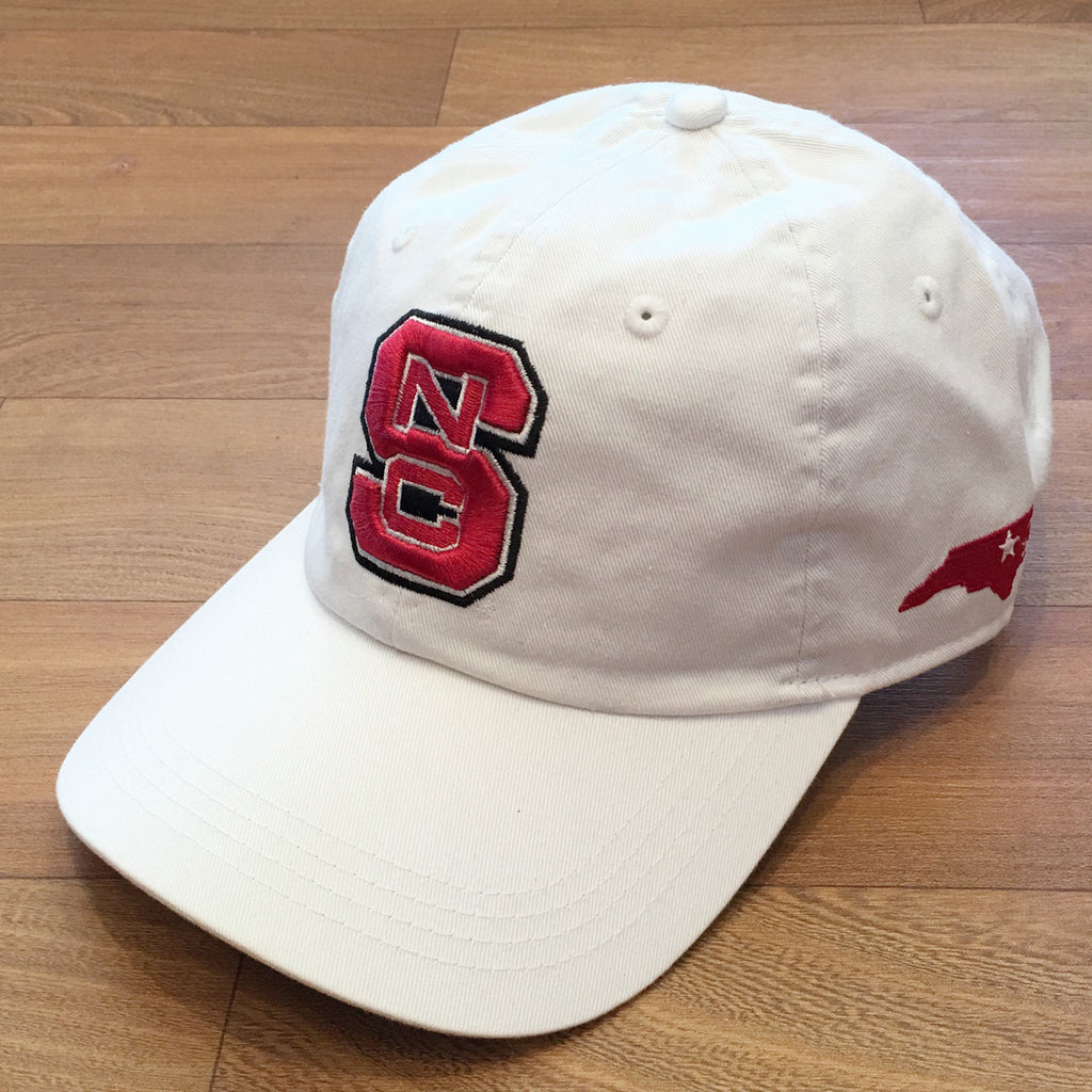 NC State Wolfpack White Vintage Twill Unstructured Classic Cloth Strap Hat