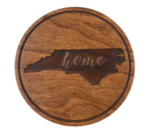 "Engraved ""Home"" State Of NC Set of 4 Wood Coasters"