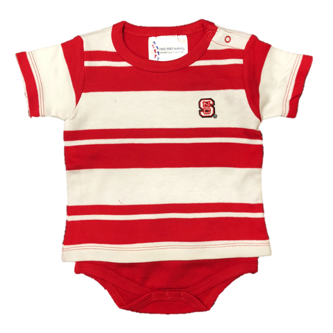 NC State Wolfpack Infant Red and White Rugby Onesie