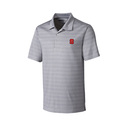 NC State Wolfpack Cutter & Buck Heathered Grey Interbay Melange Striped Polo
