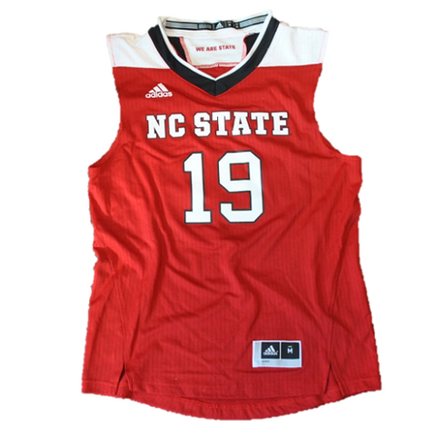 NC State Wolfpack Adidas Youth #19 Red Replica Basketball Jersey