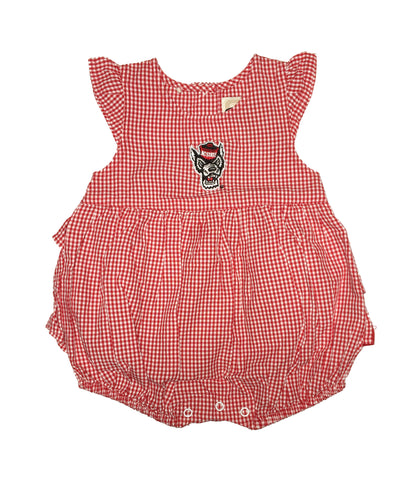 NC State Wolfpack Infant Girl's Red and White Jillian Wolfhead Dress